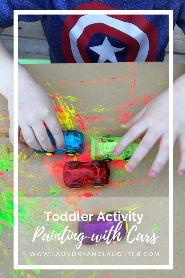 Toddler activity - painting with cars