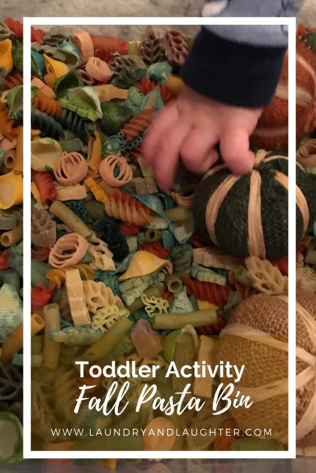 Toddler activity - fall color pasta sensory bin