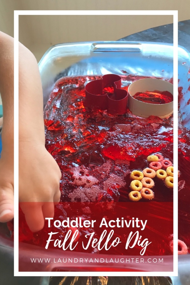 Toddler sensory activity - fall color jello dig